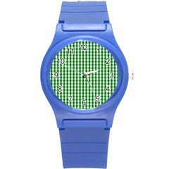 Christmas Green Velvet Large Gingham Check Plaid Pattern Round Plastic Sport Watch (s) by PodArtist