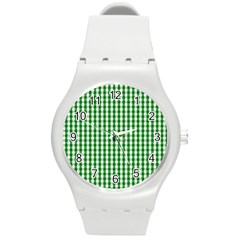 Christmas Green Velvet Large Gingham Check Plaid Pattern Round Plastic Sport Watch (m) by PodArtist