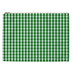 Christmas Green Velvet Large Gingham Check Plaid Pattern Cosmetic Bag (xxl)  by PodArtist