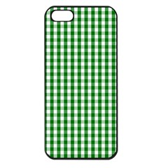 Christmas Green Velvet Large Gingham Check Plaid Pattern Apple Iphone 5 Seamless Case (black) by PodArtist