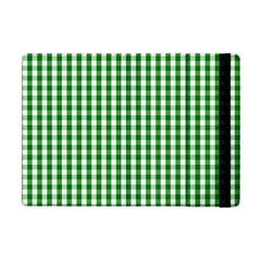 Christmas Green Velvet Large Gingham Check Plaid Pattern Apple Ipad Mini Flip Case by PodArtist