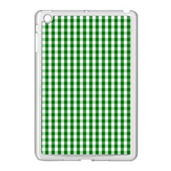 Christmas Green Velvet Large Gingham Check Plaid Pattern Apple Ipad Mini Case (white) by PodArtist