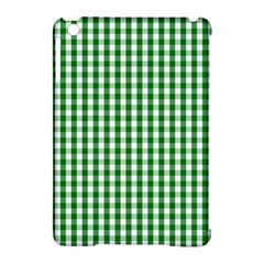 Christmas Green Velvet Large Gingham Check Plaid Pattern Apple Ipad Mini Hardshell Case (compatible With Smart Cover) by PodArtist