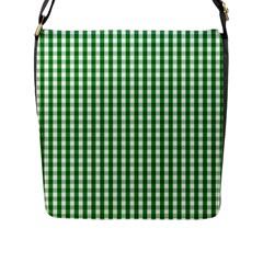 Christmas Green Velvet Large Gingham Check Plaid Pattern Flap Messenger Bag (l)  by PodArtist