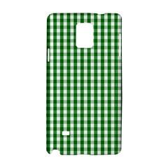 Christmas Green Velvet Large Gingham Check Plaid Pattern Samsung Galaxy Note 4 Hardshell Case by PodArtist