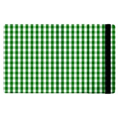 Christmas Green Velvet Large Gingham Check Plaid Pattern Apple Ipad Pro 12 9   Flip Case by PodArtist