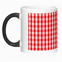 Christmas Red Velvet Large Gingham Check Plaid Pattern Morph Mugs by PodArtist
