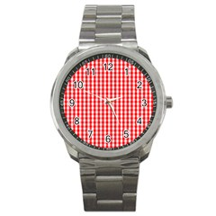 Christmas Red Velvet Large Gingham Check Plaid Pattern Sport Metal Watch by PodArtist