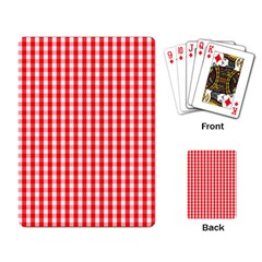 Christmas Red Velvet Large Gingham Check Plaid Pattern Playing Card by PodArtist