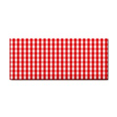 Christmas Red Velvet Large Gingham Check Plaid Pattern Cosmetic Storage Cases by PodArtist
