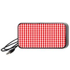 Christmas Red Velvet Large Gingham Check Plaid Pattern Portable Speaker (black) by PodArtist