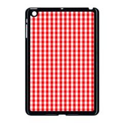 Christmas Red Velvet Large Gingham Check Plaid Pattern Apple Ipad Mini Case (black) by PodArtist