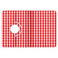Christmas Red Velvet Large Gingham Check Plaid Pattern Kindle Fire Hdx Flip 360 Case by PodArtist