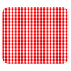 Christmas Red Velvet Large Gingham Check Plaid Pattern Double Sided Flano Blanket (small)  by PodArtist