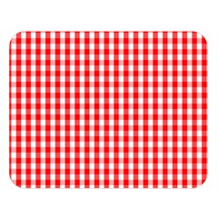 Christmas Red Velvet Large Gingham Check Plaid Pattern Double Sided Flano Blanket (large)  by PodArtist