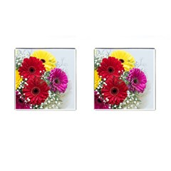 Flowers Gerbera Floral Spring Cufflinks (square) by BangZart