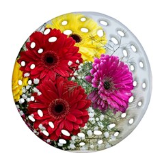 Flowers Gerbera Floral Spring Ornament (round Filigree) by BangZart