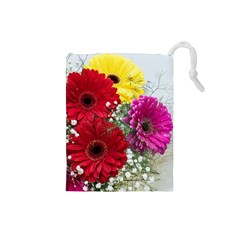 Flowers Gerbera Floral Spring Drawstring Pouches (small)  by BangZart