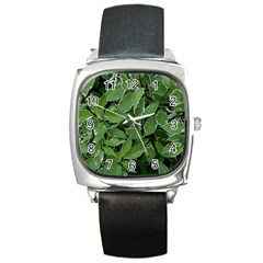 Texture Leaves Light Sun Green Square Metal Watch by BangZart