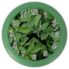 Texture Leaves Light Sun Green Color Wall Clocks by BangZart
