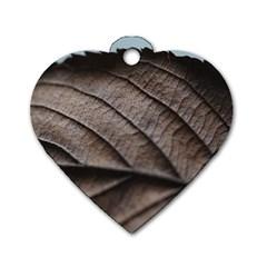 Leaf Veins Nerves Macro Closeup Dog Tag Heart (one Side) by BangZart
