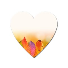 Autumn Leaves Colorful Fall Foliage Heart Magnet by BangZart