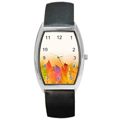 Autumn Leaves Colorful Fall Foliage Barrel Style Metal Watch by BangZart