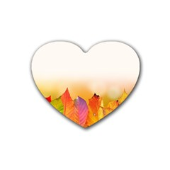 Autumn Leaves Colorful Fall Foliage Rubber Coaster (heart)  by BangZart