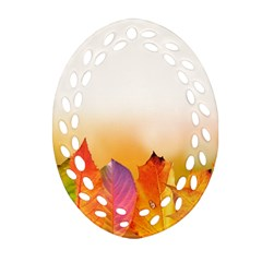 Autumn Leaves Colorful Fall Foliage Oval Filigree Ornament (two Sides) by BangZart