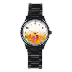 Autumn Leaves Colorful Fall Foliage Stainless Steel Round Watch by BangZart