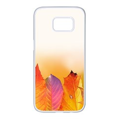 Autumn Leaves Colorful Fall Foliage Samsung Galaxy S7 Edge White Seamless Case by BangZart