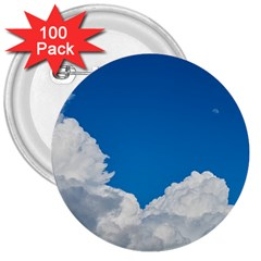Sky Clouds Blue White Weather Air 3  Buttons (100 Pack)  by BangZart
