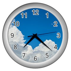 Sky Clouds Blue White Weather Air Wall Clocks (silver)  by BangZart