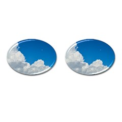 Sky Clouds Blue White Weather Air Cufflinks (oval) by BangZart