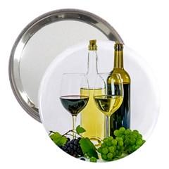 White Wine Red Wine The Bottle 3  Handbag Mirrors by BangZart