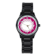 Photo Frame Transparent Background Stainless Steel Round Watch by BangZart