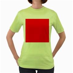 Solid Christmas Red Velvet Women s Green T Shirt by PodArtist