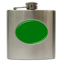 Solid Christmas Green Velvet Classic Colors Hip Flask (6 Oz) by PodArtist