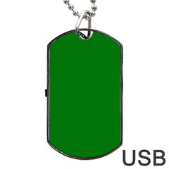Solid Christmas Green Velvet Classic Colors Dog Tag Usb Flash (one Side) by PodArtist