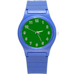 Solid Christmas Green Velvet Classic Colors Round Plastic Sport Watch (s) by PodArtist