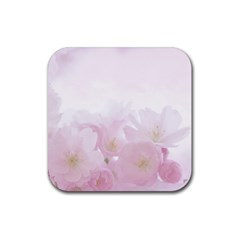 Pink Blossom Bloom Spring Romantic Rubber Coaster (square)  by BangZart