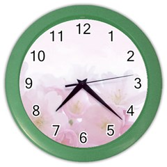 Pink Blossom Bloom Spring Romantic Color Wall Clocks by BangZart