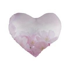 Pink Blossom Bloom Spring Romantic Standard 16  Premium Flano Heart Shape Cushions by BangZart