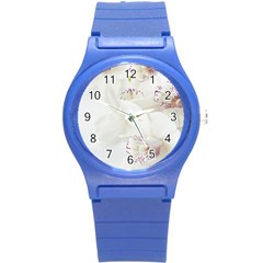 Orchids Flowers White Background Round Plastic Sport Watch (s) by BangZart