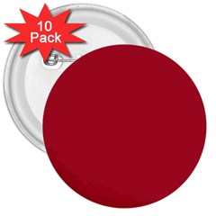Usa Flag Red Blood Red Classic Solid Color  3  Buttons (10 Pack)  by PodArtist