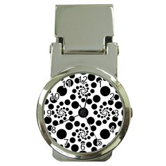 Dot Dots Round Black And White Money Clip Watches by BangZart