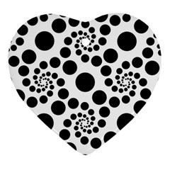Dot Dots Round Black And White Heart Ornament (two Sides) by BangZart