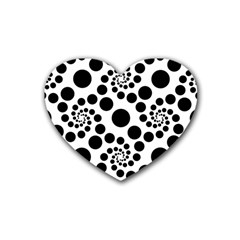 Dot Dots Round Black And White Rubber Coaster (heart)  by BangZart