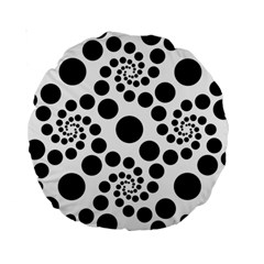 Dot Dots Round Black And White Standard 15  Premium Round Cushions by BangZart