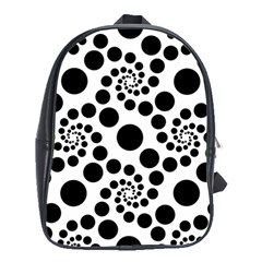 Dot Dots Round Black And White School Bags (xl)  by BangZart